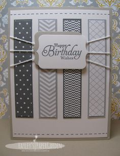 handmade birthday card from Hayley's Paper Garden . luv the matted strips of patterned papers in grays . fun string treatment with triple strands attaching to to sentiment label . clean lines . Creative Birthday Cards, Masculine Birthday Cards, Birthday Cards For Men, Handmade Birthday Cards, Masculine Cards, Creative Cards, Greeting Cards Handmade, Cards For Men Handmade, Karten Diy