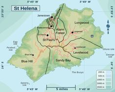 Districts of St Helena - Saint Helena - Wikipedia St. Helena, Ascension Island, Saint Helena Island, British Overseas Territories, Island Map, Blue Hill, Small Island, Travel Information, Cunha