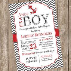 Chevron Ahoy it's a boy baby shower invitation by ModernBeautiful, $13.00