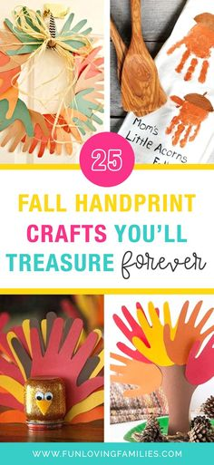 These Fall Handprint Crafts are a joy to make and you will cherish the memories with your kids for years to come. See all of the handprint, footprint, and fingerprint craft ideas for Fall, Halloween, and Thanksgiving. #fall #autumn #fallcraft #crafts #kidscrafts #kidsactivities #activities #parenting #craftideas #funforkids Fall Arts And Crafts, Autumn Crafts, Holiday Crafts, Thanksgiving Crafts For Kids, Crafts For Kids To Make, Halloween Crafts For Kids, Autumn Activities, Craft Activities For Kids, Fingerprint Crafts