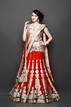 Bridal red layered lehenga - Ram Leela Bollywood influences via zarilane.com
