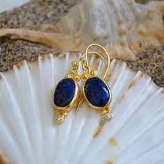 Free Shipping - Ancient Roman Art Handmade Lapis Earrings W/ White Topaz by Ferimer 18K Yellow Gold Vermeil over Sterling Silver
