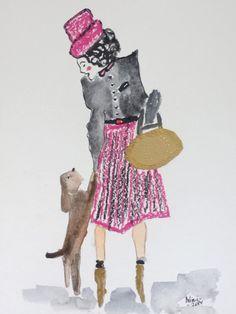Bibivi: Obra: My Dog. Acuarela, ceras y collage sobre pape...