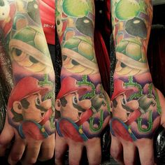 Awesome Mario sleeve done by @eyecandytattoo. #tattoo #ink #videogametattoo…
