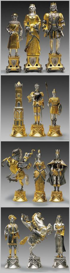 Carolingi vs Mori gold and silver themed chess pieces. Chess Time, Chess Set Unique, Kings Game, Chess Pieces, Board Games, Game Boards, Chess Sets, Sculptures, Geek Stuff