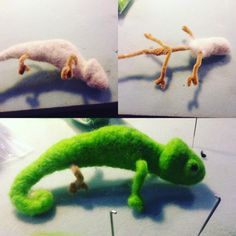 Needle felted Chameleon By After All Art in Miniature Fiber Artist Ashley Sanson