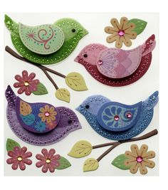 felt folk art style applique design to make to sew on all sorts of summer looks great gift idea for a mothers day brooch or birthday present too Stitched Colorful Birds Stickers Bird Crafts, Felt Crafts, Fabric Crafts, Sewing Crafts, Paper Crafts, Felt Christmas Decorations, Felt Christmas Ornaments, Bird Ornaments, Fabric Birds