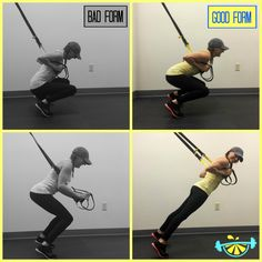 TRX Front Squat 1) Face away from the anchor, place straps under arms, body weight on handles 2) Walk back to 45 degree angle, open feet slightly wider than hips, start on balls of feet. 3) Drop down into squat & drive through balls of feet back up to standing.  **Try not to fall back onto heels **Try to keep your core engaged & support body weight with arms #theleanlemon