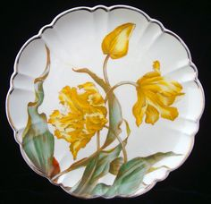 """Superb English Aesthetic Movement Plate ~ TULIPS 1880 HAND PAINTED VICTORIAN PLATE  George Jones Potteries  Stoke on Trent, Staffordshire England  c. 1880  This 10 lobed Victorian 8 5/8 """" wide plate is transfer printed in brown and then expertly artistically hand painted in soft greens and golden yellow. The pattern features a cluster of Tulips in bud and bloom. The pattern displays the Victorian eras love of nature."""