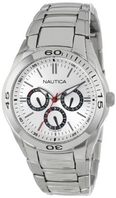 Men's Wrist Watches - Nautica Mens N13621G NAC 100 Classic Stainless Steel Watch with Link Bracelet ** Check out this great product.