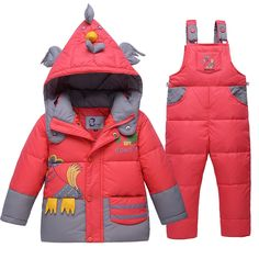 38.29$  Buy here - http://ai0hc.worlditems.win/all/product.php?id=32718343906 - Boy Girl Winter 2pcs Kid Clothes Ski Suit Set Thick Coat+Jumpsuit Baby Cute Cartoon Cock Christmas Clothes Long Sleeves Pant Set