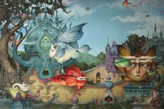 A fantasy surrealist painting by David Merriam of a surrealist fantasy realm with butterfly winged creatures