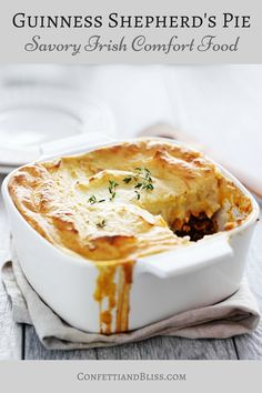 Guinness Shepard's Pie | These Irish comfort foods have the spirit of tradition with a fun twist. Irish food is rooted in tradition and is typically stews or long braises which to me is instant comfort foods. These dishes are hearty and just melt in your mouth. Choose from slow cooking stews, pan-fried potatoes, and lots of Guinness beer. #xokatierosario #irishcomfortfood #irishrecipes #stpatricksdayrecipes