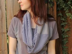 navy and grey infinity scarf // jersey cotton by FightingforJoy, $26.00