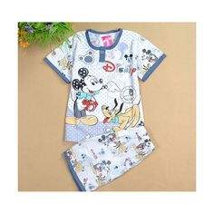 2016 Summer Kids Pajamas Baby Boys Girls Clothing Set Cartoon Print Short Sleeved Cotton Kids Pijamas Children Sleepwear Pajamas