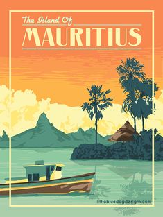 Copyright 2020 Little Blue Dog Designs Art Deco Posters, Poster Prints, Mauritius Travel, Wolf Artwork, Country Art, City Art, Vintage Travel Posters, Map Art, Looks Cool