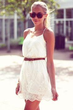 White Lace Embroidery Spaghetti Strap Chiffon Dress
