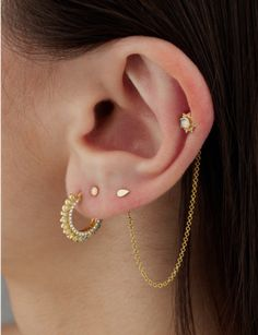 1 Chain Two Earring Back Connector (Lobe) Image #1
