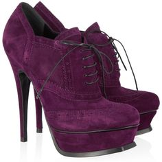 Yves Saint Laurent Suede brogue ankle boots ($995) ❤ liked on Polyvore