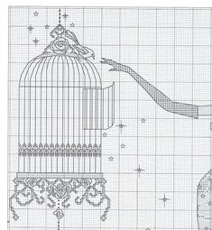 Lady and bird cage Cross Stitch Angels, Cross Stitch Needles, Cross Stitch Bird, Cross Stitch Charts, Cross Stitching, Cross Stitch Embroidery, Cross Stitch Alphabet Patterns, Cross Stitch Designs, Girly
