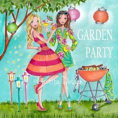 Cartita Design © 2013 - Garden Party - BBQ #illustration #barbecue #girls