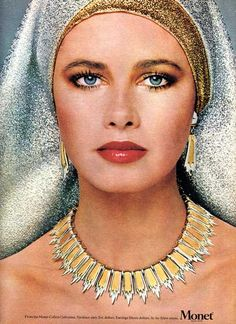 Stunning vintage jewelry ad from MONET for the Egyptian/Cleopatra style 'Colleta Collection' from September 1976 Vogue