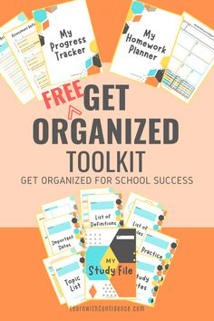 FREE resources to help your child get their school work organized and experience success this year. Study File template pages, Progress tracker, Homework Planner. School Work Organization, Organization Skills, Homework Planner, Definition Of Success, Study Skills, Important Dates, Getting Organized, Your Child, Confidence