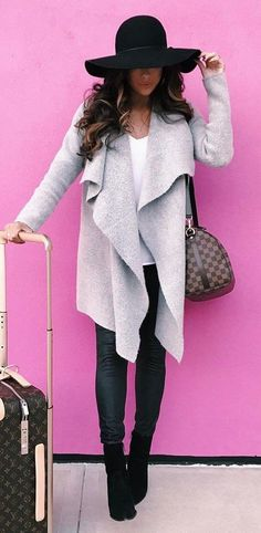 #winter #fashion / Black Hat / Grey Coat / Black Leather Leggings / Black Suede Booties