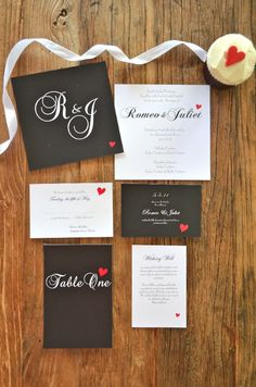 Wedding Invitations  monogram wedding invitations, balck and white, simple, red, heart