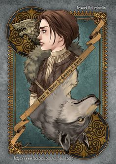 First series of Game of Thrones cards by Orpheelin | Arya and Nymeria #got #asoiaf