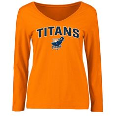 Cal State Fullerton Titans Women's Proud Mascot Slim Fit Long Sleeve T-Shirt - Orange