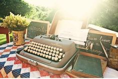 A vintage typewriter re-purposed as a guest book.