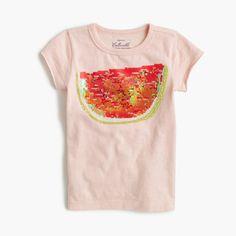 Girls' sequin watermelon T-shirt