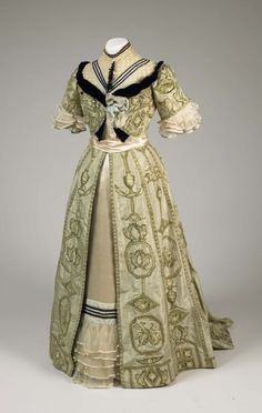 Day dress  Date: 1891–1900 Location:Not on display Century:19th Century AD Media:Silk Taffeta, Printed Linen Appliqués, Sequins, Silk Chiffon, Velvet