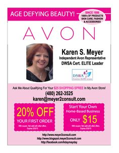 Avon Scottsdale - Karen Meyer Sponsored by Az Seasons AZ Seasons Page   I advertise my Avon Scottsdale business with AzSeasonsmagazine.com. They have fair, competitive pricing and cover a vast...