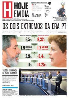 Capa do dia 31/08/2016 #HojeEmDia #Jornal #Notícias #News #Newspaper