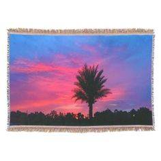 Gorgeous Tropical Sunset Throw Blanket