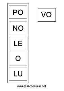 ESPAÇO EDUCAR: Atividade de alfabetização: Jogo do encaixe para formar palavras, com fichas para imprimir e sugestões!
