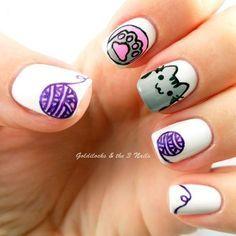 Sweet Cotton Candy Nail Colors and Designs Pusheen Cat Nail Art / Cat Nails Cat Nail Art, Animal Nail Art, Cat Nails, Nail Art Diy, Simple Nail Art Designs, Cute Nail Designs, Cotton Candy Nails, Gel Nagel Design, Kawaii Nails