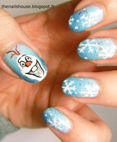 Frozen Olaf Nail Art