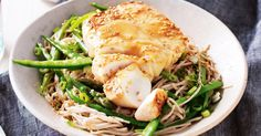 Japanese-style fish served on slurpy noodles is a fast, easy dinner the whole family will love.