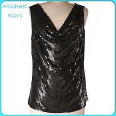 "❤️Gold/Black Bullseye Sequined Cowl Neck Top❤️ Stunning Gold/Black Bullseye Sequined Cowl Neck Top. Each Sequin is gold with a black dot in center. 100% Rayon Soft, Stretchy T-Shirt Feel. Bust-44"" Length-26"" Michael Kors Tops"