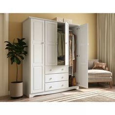 Shop for Palace Imports Family Solid Wood Wardrobe (No Shelves Included) - x x Get free delivery On EVERYTHING* Overstock - Your Online Furniture Shop! Diy Wardrobe, Wardrobe Design, Wardrobe Ideas, Armoire Wardrobe, Closet Ideas, Wardrobe Furniture, Bedroom Furniture, Furniture Sets, Bedroom Wardrobe