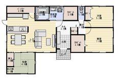 27坪3LDKファミリークロゼットのある平屋の間取り | 平屋間取り Dorm Room, House Plans, Floor Plans, How To Plan, Houses, Bed Room, Blueprints For Homes, Home Plans, Dorm