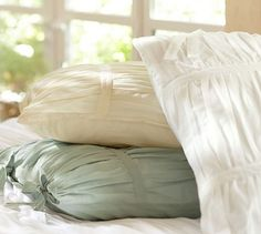 Hadley Ruched Duvet Cover & Sham - Ivory | Pottery Barn