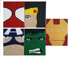 Set of 5 hand painted super hero canvas boards by SimplyShanCreations on Etsy