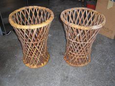 2 Wicker Basket Tables & Rush Seat