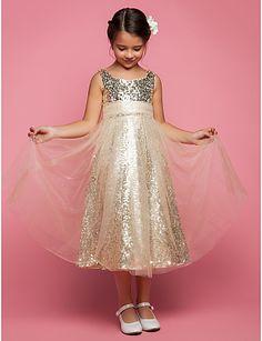 A-line Princess Jewel Tea-length Tulle Flower Girl Dress