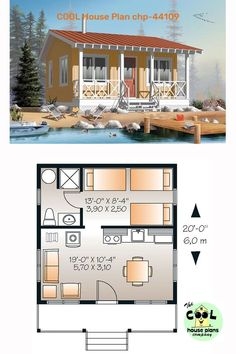 This #tinyhouseplans 400 square foot floor plan is a one bedroom one bathroom #tinyhome with a #smallkitchen. The tiny house craze that continues to sweep the nation makes this a #poplartinyhome . This series of #tinyfloorplans at #coolhouseplans is a great add to your Pinterest board. #houseplans #homeplans #floorplans #housefloorplans #smallhouseplans #smallhouse #smallhome #tiny #lakehouse #lakehome