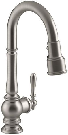 Kitchen Sink Remodel Kohler Artifacts Pullout Spray High-Arch Kitchen Faucet with ProMoti Vibrant Stainless Faucet Kitchen Single Handle - Kohler Faucet, Bar Faucets, Kitchen Sink Faucets, Bathroom Faucets, Kitchen And Bath, New Kitchen, Kitchen Ideas, Kitchen Redo, Chris Kitchen